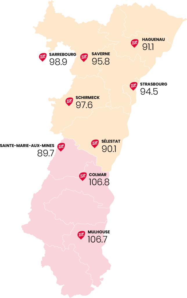 Carte des fréquences de la radio Top Music en Alsace. 9 fréquences : 106.7 Mulhouse, 106.8 Colmar, 89.7Sainte Marie aux mines, 90.1 Sélestat, 97.6 Schirmeck, 94.5 Strasbourg, 91.1 Haguenau, 95,8 Saverne, 98.9 Sarrebourg.