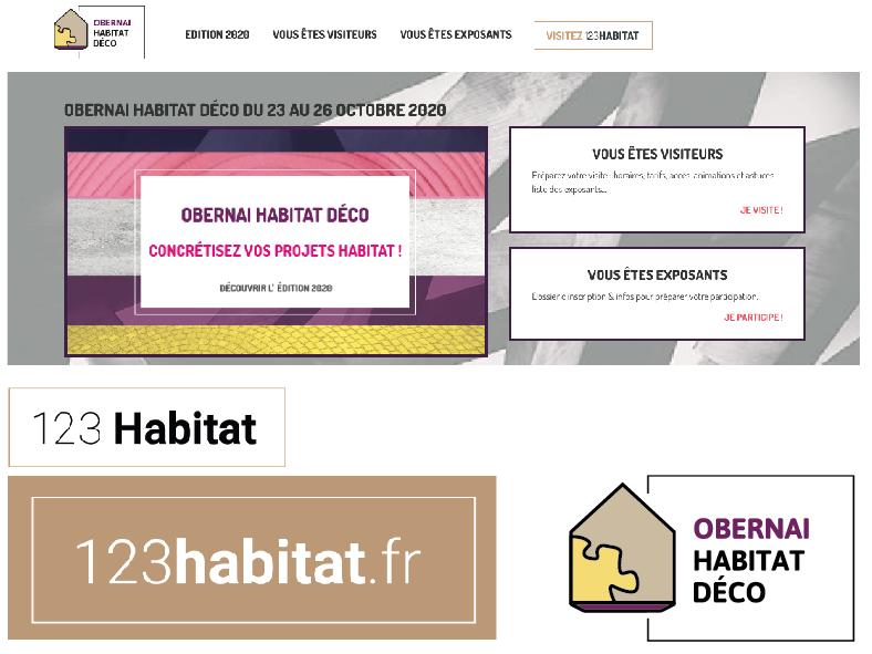 réalisation Média Storming : logo, charte graphique, site internet de la marque 123 Habitat